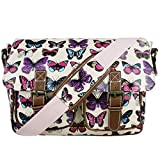 Floral Polka Dots Ladies Oilcloth Satchel Messenger Shoulder Hand School Bag, Butterfly Pink,