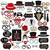 Bofekt Wedding Photo Booth Props, 54pcs DIY Fun Wedding Photo Props sur Sticks Personalized Photo Booth Accessoires pour mariage Christmas Birthday Party-Authorized Bofekt Official Store