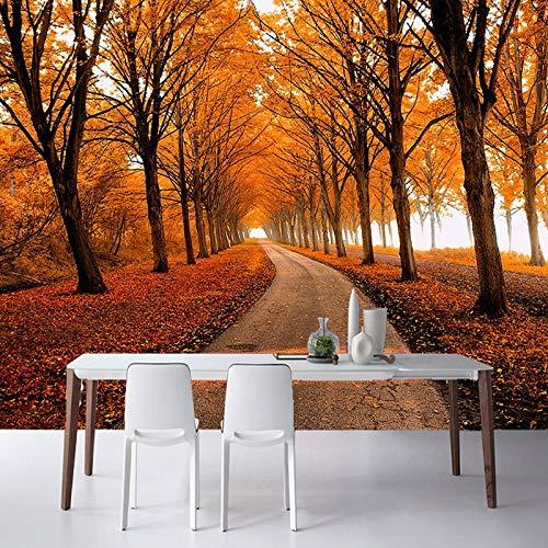 Fototapete 3d effekt 2017 neueste Natur Landschaft Fototapete Herbst Ahorn Wald 3D Stereo Wandbild Räumliche Expansion Restaurant Nacht Wohnkultur-280X200CM -