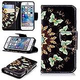 LuckyW Coque iPhone 5S Cuir, Rabat Housse Etui pour Apple iPhone 5 5S Se [Papillon...