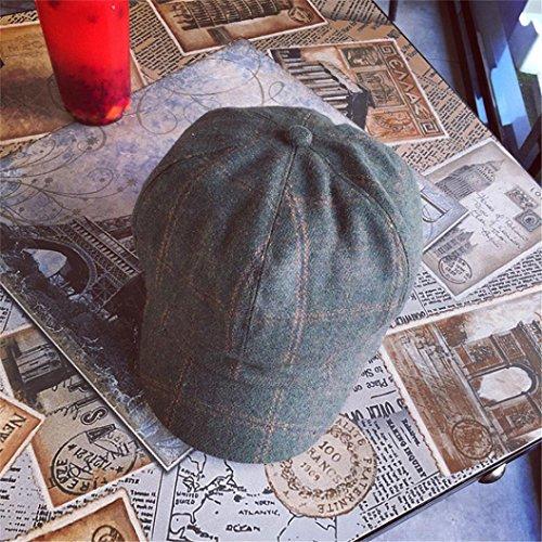 POachers Vintage Cappello con Visiera Donna Puro Colore Berretto Ottagonale Baschi Stile Francese Verde