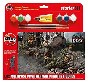 Airfix - Kit Mediano con Pinturas, Figuras German Infantry Multi-Pose (Hornby A55210)