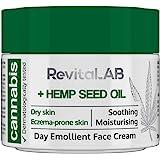 RevitaLAB - Crema facial emoliente de día con extracto de cánnabis y aceite de semilla de cáñamo ecológico para una hidrataci