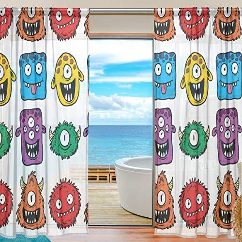 XiangHeFu Gardine Tüll Bunte glückliche Monster Voile Fenster Vorhänge für Schlafzimmer, 55 (B) x78 (L) Zoll, 2 Panels
