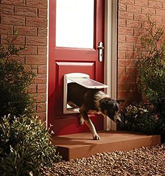 PetSafe - Porte pour Animaux d'Origine Staywell (M), Chatière pour Chien Moyen, Résistante, Battant Robuste, Panneau de Fermeture Inclus - Blanc