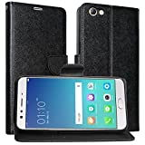 DMG Synthetic Leather Slim Wallet Flip Cover Case with Card Slots and Magnet Closure For Oppo F3 Plus ( Black )