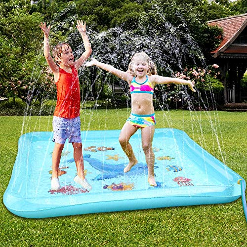 Baztoy Splash Pad, Kinder Spielzeug Wasser Sprinkler Matte Wasserspielmatte Sommer Wasserspielzeug Outdoor Spielzeug Wassermatte Geschenk für Baby Junge Mädchen Pool Party Garten Spiele 170*170CM