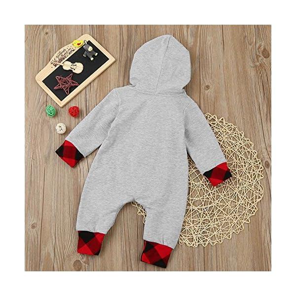 MYONA Recién Nacido Pijama Algodón, Mono de Bebé Manga Larga con Bolsillo y Cremallera Capucha de Invierno para Bebés… 5