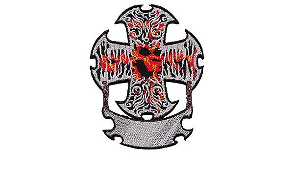 Biker Kreuz Flammen Aufnäher Bügelbild Aufbügler Iron On Patches Applikation Tattoo Rock Auto
