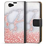 Sony Xperia Z1 Compact Tasche Leder Flip Case Hülle Glitzer Look Marmor Pink