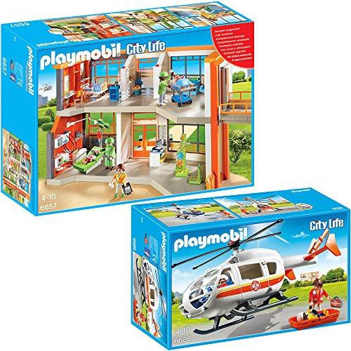 PLAYMOBIL® City Life Die freundliche Kinderklinik 2-tlg. Set 6657 6686 Kinderklinik mit Einrichtung + Rettungshelikopter