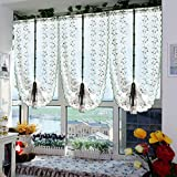 1er Pack bestickte kleine Blumen Raffrollos Raffgardinen, BxH: 80x200cm