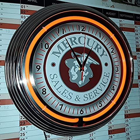Neon Montre–Mercury Sales & service–Atelier Horloge murale lumineux avec anneau orange fluo–États-Unis 50