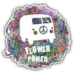 Hippie Style Flower Power Label Pegatina de Vinilo Para la Decoracion del Vehiculo 12 X 12 cm