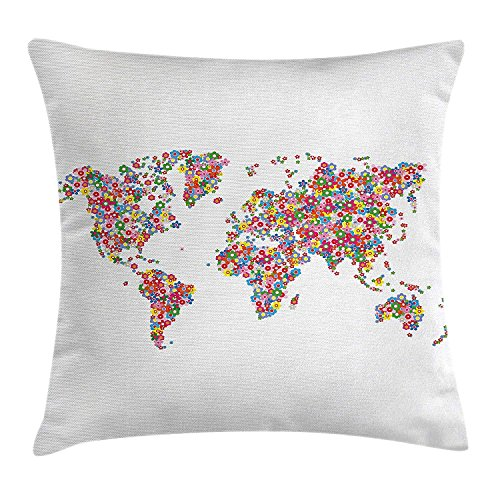 Floral World Map Throw Pillow Cushion Cover, Floral Planet Earth with Blossoms Wreath Botany Bouquet Lively Eco Design, Decorative Square Accent Pillow Case, 18 X 18 inches, Multicolor