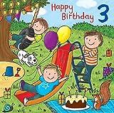 twizler 3. Geburtstag für Jungen mit Kuchen, Hund, Slide, präsentiert und Glitzer–Drei Jahre–Alter 3–Kinder Geburtstag–Jungen Geburtstag Karte
