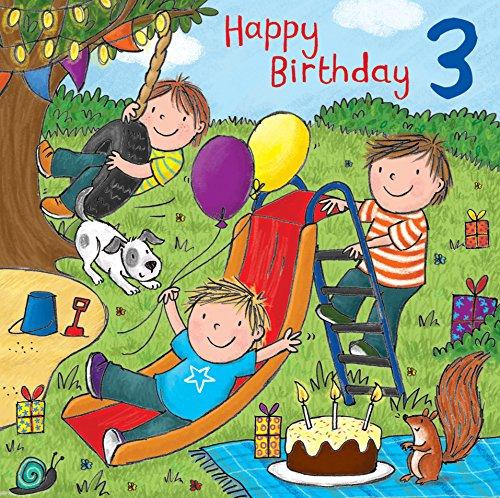 Twizler Geburtstagskarte zum 3. Geburtstag, für Jungen, englischsprachige Aufschrift, Motiv mit Kuchen, Hund, Rutsche, Geschenken und Glitzer,Kindergeburtstag