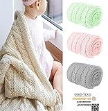 Mikos* Kuscheldecke Babydecke Strickdecke Baby Decke mit Zopfmuster Öko-Tex 100cm x 90cm (1003) (Mint)