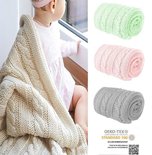 Mikos* Kuscheldecke Babydecke Strickdecke Baby Decke mit Zopfmuster Öko-Tex 100cm x 90cm (1003) (Hellblau)
