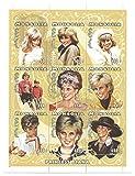 Prinzessin Diana Kunstwerk Porträt Abbildungen / Briefmarken Block von 9 Werten / MNH / Mongolei / SC # M5167 / 1997