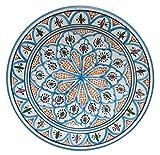 Saharashop Orientalischer Keramik-Teller rund Ø 35cm Blau-Orange