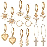 Jewels Galaxy Marvelous AD Gold Plated Multi Designs 9 Pair of Earrings For Women/Girls