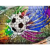 Fototapete Fussball Vlies Wand Tapete Wohnzimmer Schlafzimmer Büro Flur Dekoration Wandbilder XXL Moderne Wanddeko - 100% MADE IN GERMANY - Steinwand Grafitti Blau Grün Runa Tapeten 9021010c