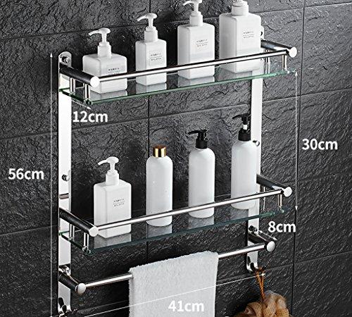 Bathroom Racks LQ Scaffali da bagno 304 cremagliera in acciaio inox, ripiani...