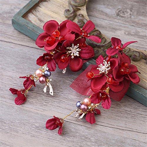 Rot-haar-feder-haar-bogen (MultiKing Braut Kopfschmuck Koreanische Braut Samt Bogen Gold Haar Ornamente Rot Perlen Wasser Bohrkopf Flower Dress Zubehör)