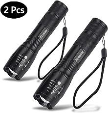Aibesser 2 Stk LED Taschenlampe,1000 Lumen CREE XML-T6 Taschenlampe LED, Taktische Taschenlampe mit 5 Leuchtmodi, Zoombar Wasserfest Tragbare Taschenlampen mit Einstellbar Fokusfür Campen, Wandern, Fahrradfahren und Notfälle