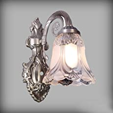 Sanleen Antique Style Metal and Glass Wall Lamp 5 W LED Bulb (27x18x13cm, White)