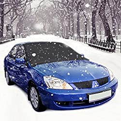 Windshield Snow Cover, Aodoor Frost Screen Cover Magnetic Universal Wind Screen Frost & Ice Protector,ice Sun Frost & Wind Proof In All Weather 215 X 125 Cm (Black + Sliver)