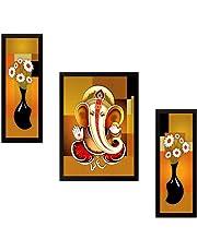 SAF UV Textured Ganesh Modern Art Print Framed Painting Set of 3 for Home Decoration – Size 35 x 2 x 50 cm