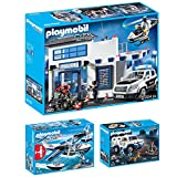 PLAYMOBIL City Action 3er Set 9371 9372 9436 Geldtransporter + Polizeistation + Polizei-Wasserflugzeug