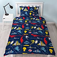 The Incredibles Disney 2 Single Duvet Cover | Reversible Retro Two Sided Design | Kids Bedding Set Includes Matching Pillow Case