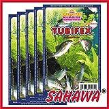 SAHAWA® Frostfutter 5x 100g Blister Tubifex , verpackt mit Trockeneis, Zierfischfutter, Süßwasser, Discus, Barsche, Guppys, Rote Mückenlarven (Tubifex)