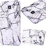 Coque Galaxy A3 2016 Marbre GrandEver Housse Hard Rigide Back Cover pour Samsung Galaxy A3 2016 A310F Marble Blanche Grain Noir Motif Etui de Protection Plastique Case Cas Couverture Dure Solide Tough Coquille Marbre Design Couverture Arrière Cover pour Samsung Galaxy A3 2016
