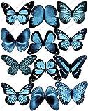 Cakeshop 12 x VORGESCHNITTEN Hellblau Essbare Schmetterling-Kuchen topper (Tortenaufleger)