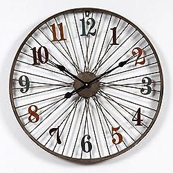 LDB SHOP 60 cm Reloj de Pared silencioso de Gran tamaño, Estilo Retro Reloj de Pared Hogar Dormitorio Hierro Arte Reloj Pared Decoración para el hogar - Patrón de Rueda de Bicicleta