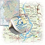 BACHER Postleitzahlenkarte Rheinland-Pfalz /Saarland 1:160000, Sonderausgabe als großformatiger Digitaldruck, Papierkarte gerollt, beidseitig ... und Gewässernetz dezent im Hintergrund -
