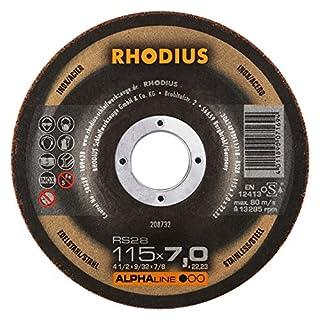 RHODIUS 0 x 22, 23 mm 5 Stück Edelstahl Stahl Schruppscheiben RS28 115 x 7,0 x 22,23 mm für Winkelschleifer Schleifscheibe, 200 W, 240 V