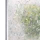 Homein 3D Fensterfolie Selbsthaftend Fensterbilder Sichtschutzfolie Bunt Glasfolie Fensterfolien Blickdicht Window Film Folie Selbstklebend Glastür ohne Kleber mit Motiv Blumen Geblümt 44.5 x 200 cm