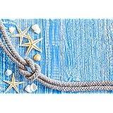 "Papillon ""en color azul mar Madera"" alfombrilla absorbente estupendo, poliéster, Multi-color, 60 x 40 cm"