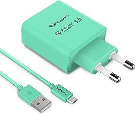 SAVFY USB Schnellladegerät [Qualcomm Quick Charge 3.0] 18W mit Mikro USB Schnellladekabel Highspeed USB Ladegerät für Smartphones & Tablets und andere USB ladende Geräte Mintblau