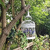 Vintage Style White Metal Hanging Birdcage Garden Planter Flower Pot Holder