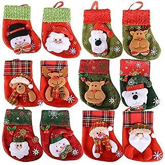 SERWOO 12pcs Medias Calcetin Navidad Bolsos Bolsas Regalo Almacenamiento de Dulces Caramelos Decoración Colgantes de Árbol Navidad Funda de Cubiertos