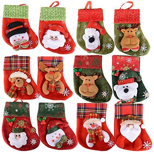 SERWOO 12pcs Medias Calcetin Navidad Bolsos Bolsas