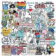 Cool Nurse Stickers for Laptop, 50pcs Pack Waterproof Vinyl Decal for Teen Water Bottle, Skateboard, Guitar, T