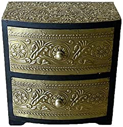 Theshopy Decorative Handmade Wooden Drawer Chest, 2 Drawers (16.25 cm x 15 cm x 8.75 cm,...