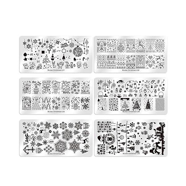 Plantillas de Sellos para Uñas Biutee 6pcs Placas de Estampacion Uñas con 1 Sello de Cabeza Doble